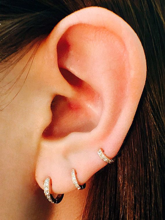 Set Of Three Diamond Hoop Earrings Graduating Size Pave Etsy In 2020 Minimalist Earrings Diamond Star Earrings Diamond Studs