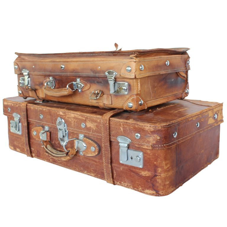 Vintage English Leather Suitcases | More Leather suitcase and ...