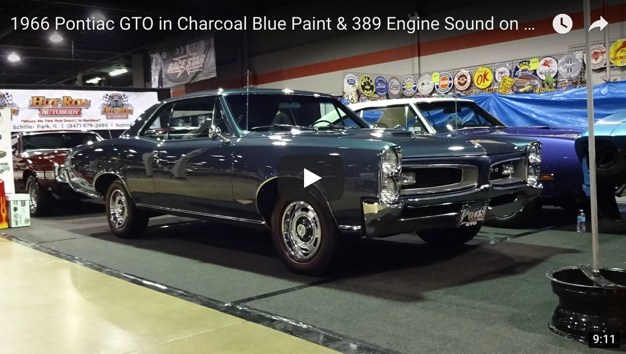 1966 Pontiac Gto In Charcoal Blue Paint 389 Engine Sound March Serpentine Https