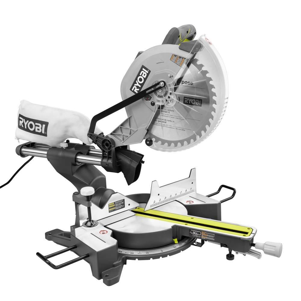 Ryobi 12 In Sliding Miter Saw With Led Tss121 In 2020 Sliding Mitre Saw Sliding Compound Miter Saw Woodworking Tools For Beginners