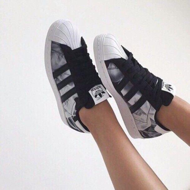 ladies adidas superstar black and white