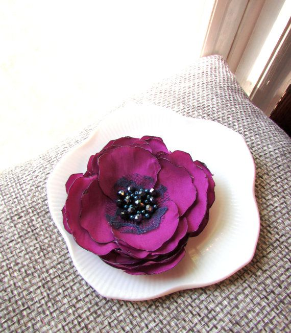 Floral brooches purple silk flower pin 4 large flower brooch floral brooches purple silk flower pin 4 large flower brooch woman navy blue and plum beaded broach fabric flower pins for dress mightylinksfo