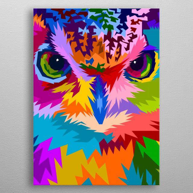 'close up of face owl ' Metal Poster – peri priatna | Displate