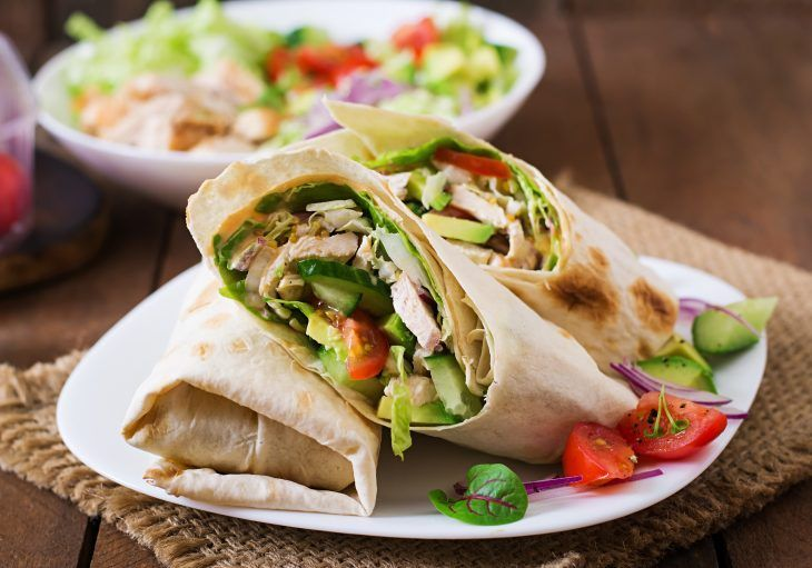 Fresh Tortilla Wraps With Chicken And Fresh Vegetables On Plate Liver Diet Recipes Fatty Liver Diet Recipes Liver Recipes