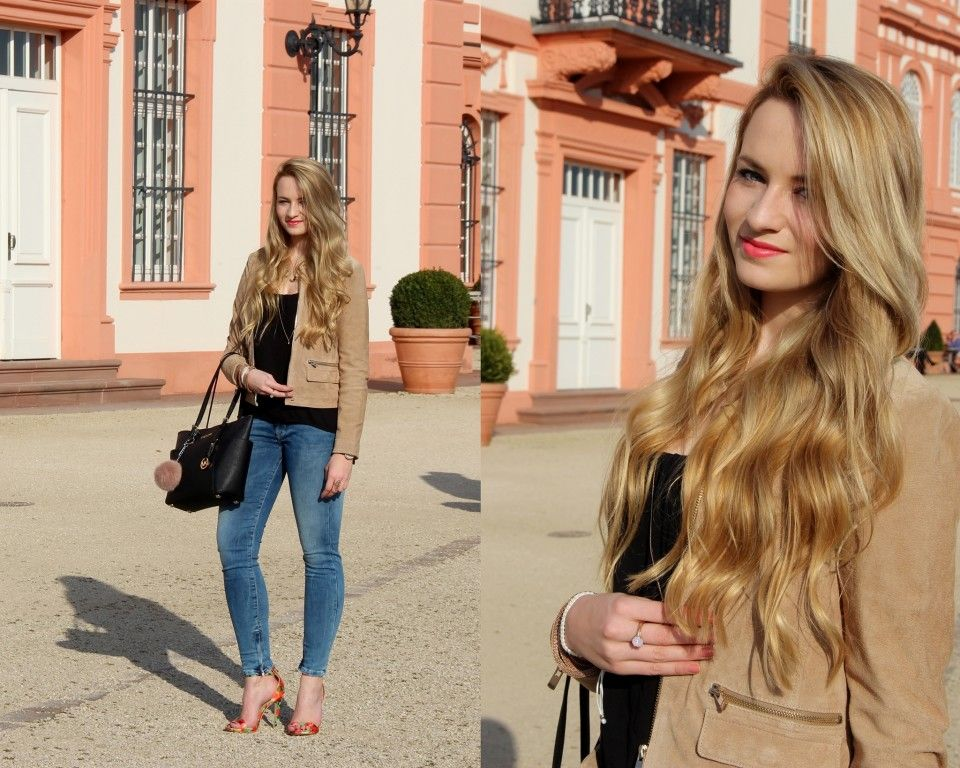 We <3 the Look on http://www.absolute-brightside.de/2015/03/outfit-suede-jacket-flower-heels.html