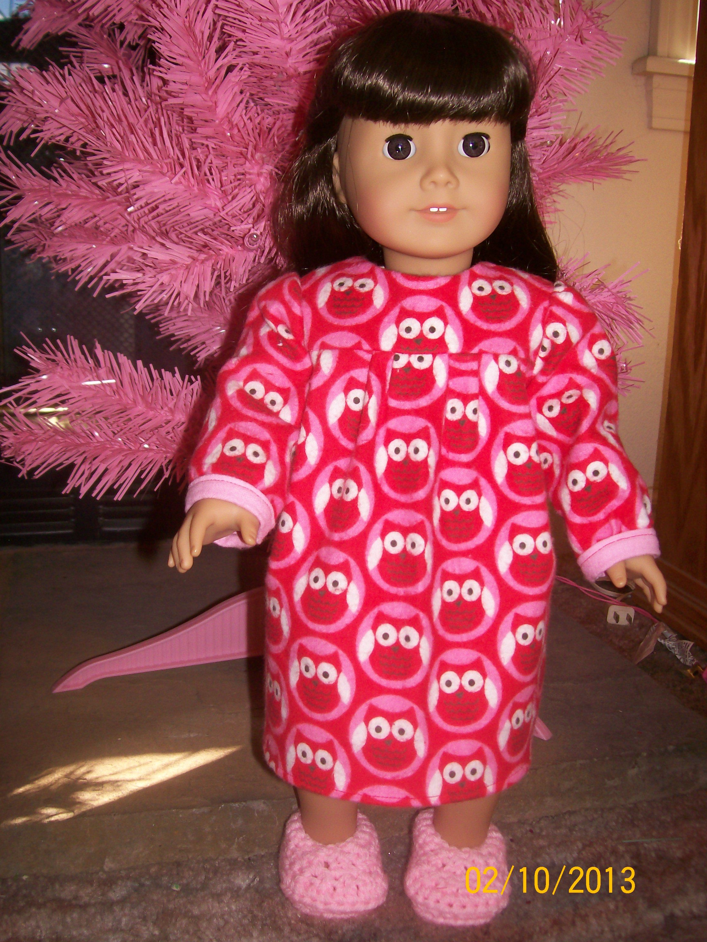 Red flannel nightgown  Flannel nightgown with crocheted slippers for AG