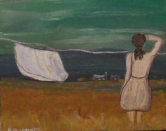 Folk Art oil Painting   threatening sky by KMORONEYART on Etsy, $80.00