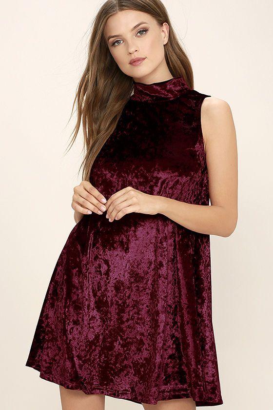 a32a5d2cda73 Chic Burgundy Swing Dress - Velvet Dress - Mock Neck Dress -  48.00