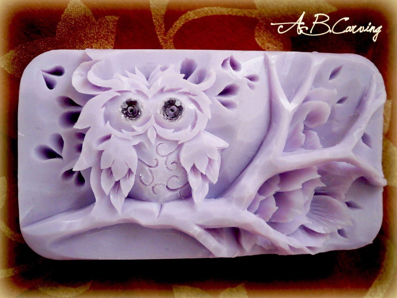 Owl soap sculpture hand carved bar
