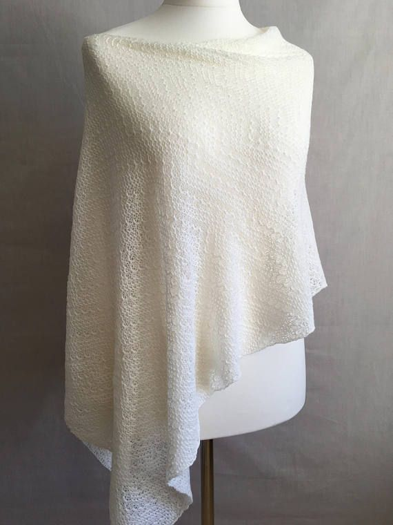 af1ad8b5f White wool poncho Merino wool poncho Knit poncho   Knit ponchos ...