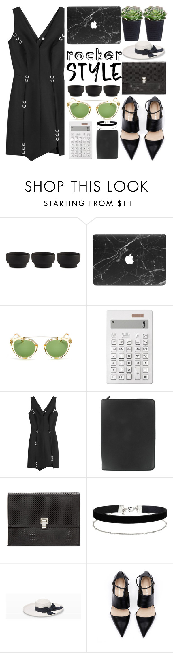 """Black And White Summer"" by jiabao-krohn ❤ liked on Polyvore featuring Stelton, Muji, Thierry Mugler, FiloFax, Proenza Schouler, Miss Selfridge, Club Monaco, rockerchic and rockerstyle"