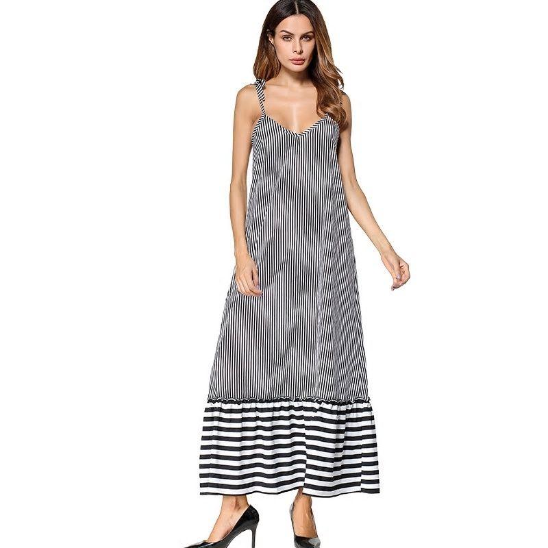 Nightgowns Women Nightgown Sexy V-neck Sleeveless Stripe Women Sleepwear  Ladies Sexy Lingerie Sleepdress Nightdress Sleepshirts ea9ea57db