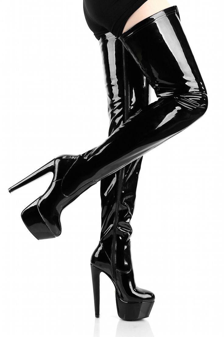 1ad082d4c08621 GIARO - Damen Plateau Overknee Stiefel - Lack Schwarz Schuhe in Übergrößen  – Bild 1