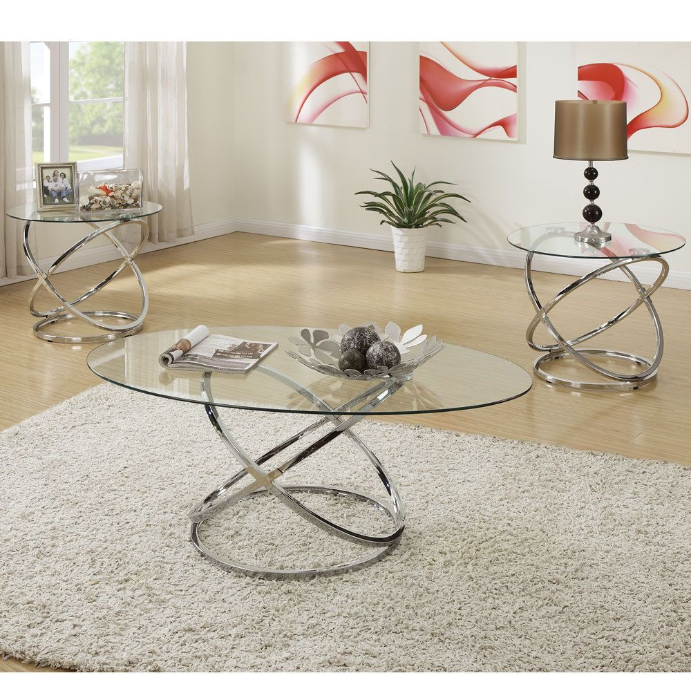 3 Pcs Oval Glass Cocktail Coffee Table Round End Side Silver Metal