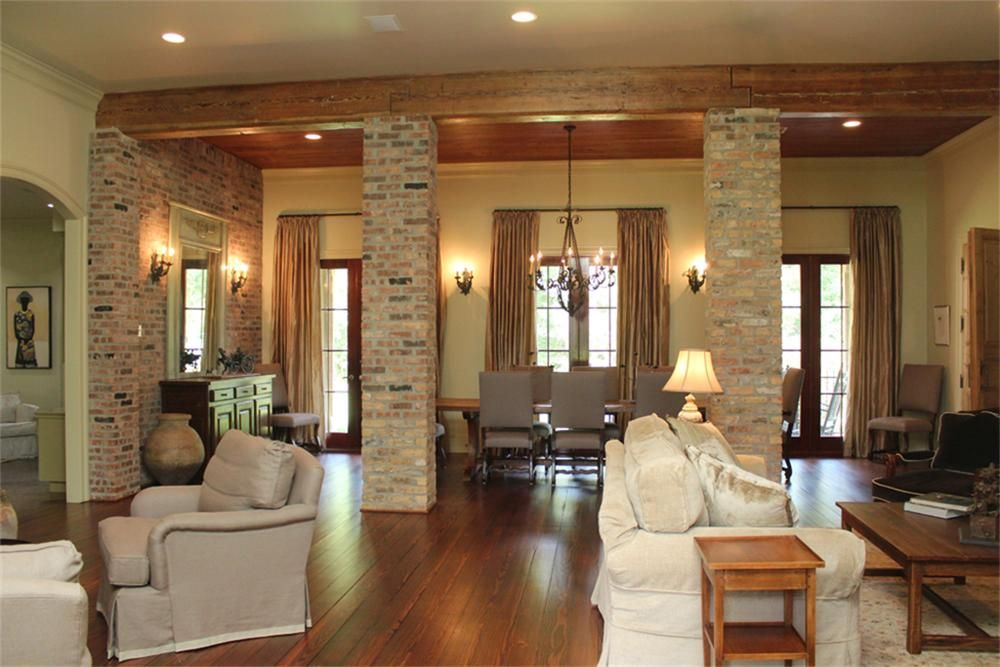 Cool Love The Wood Beams And The Brick Columns Living Room Door Handles Collection Dhjemzonderlifede