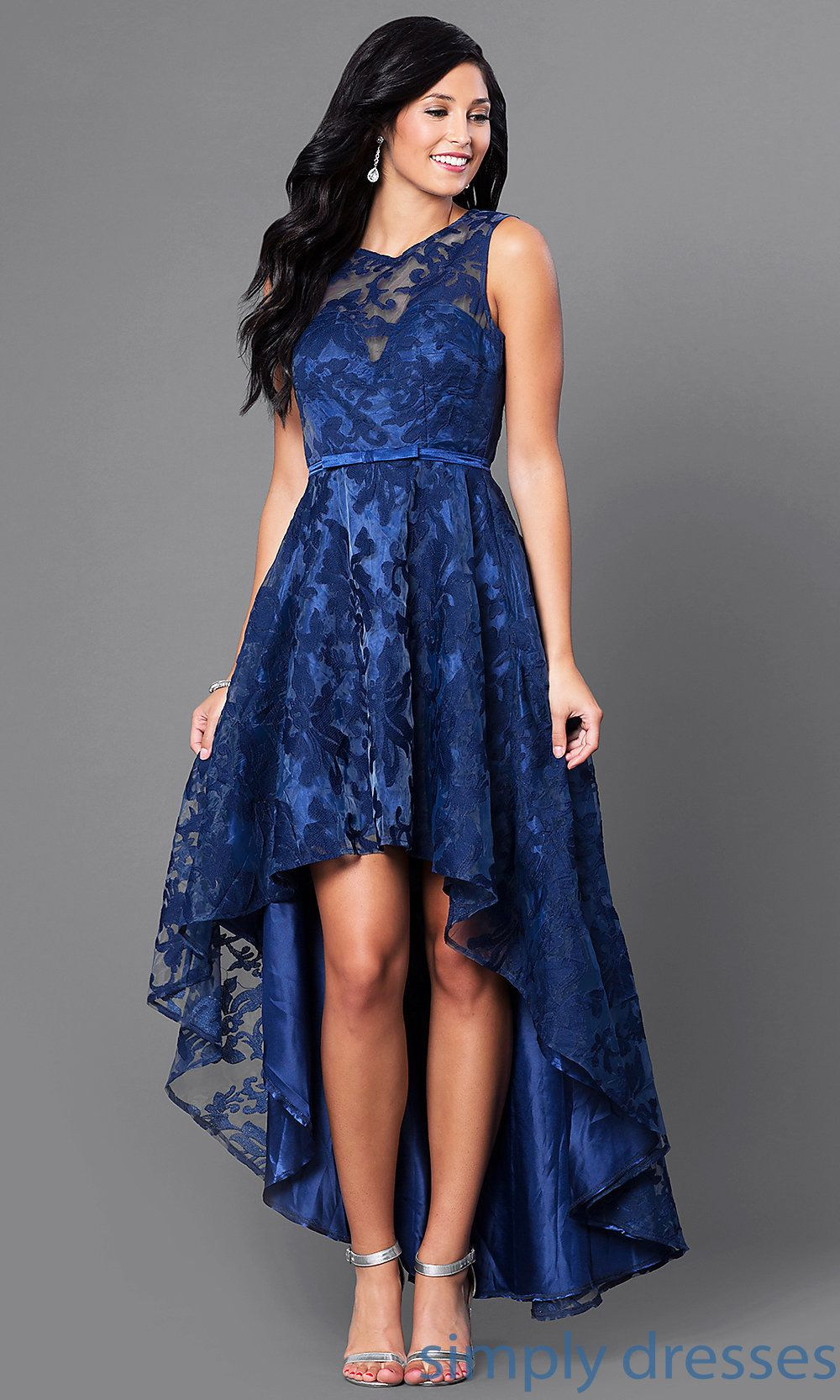 Lace highlow sleeveless semiformal party dress roupas