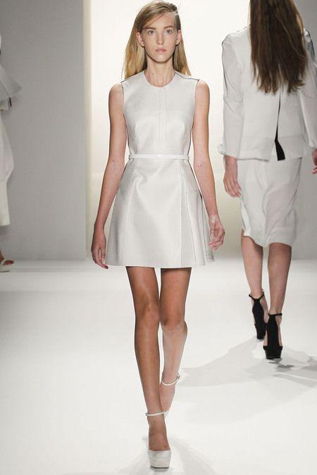 calvin klein spring 2013 ready to wear ella richards little white belted dress #fashion
