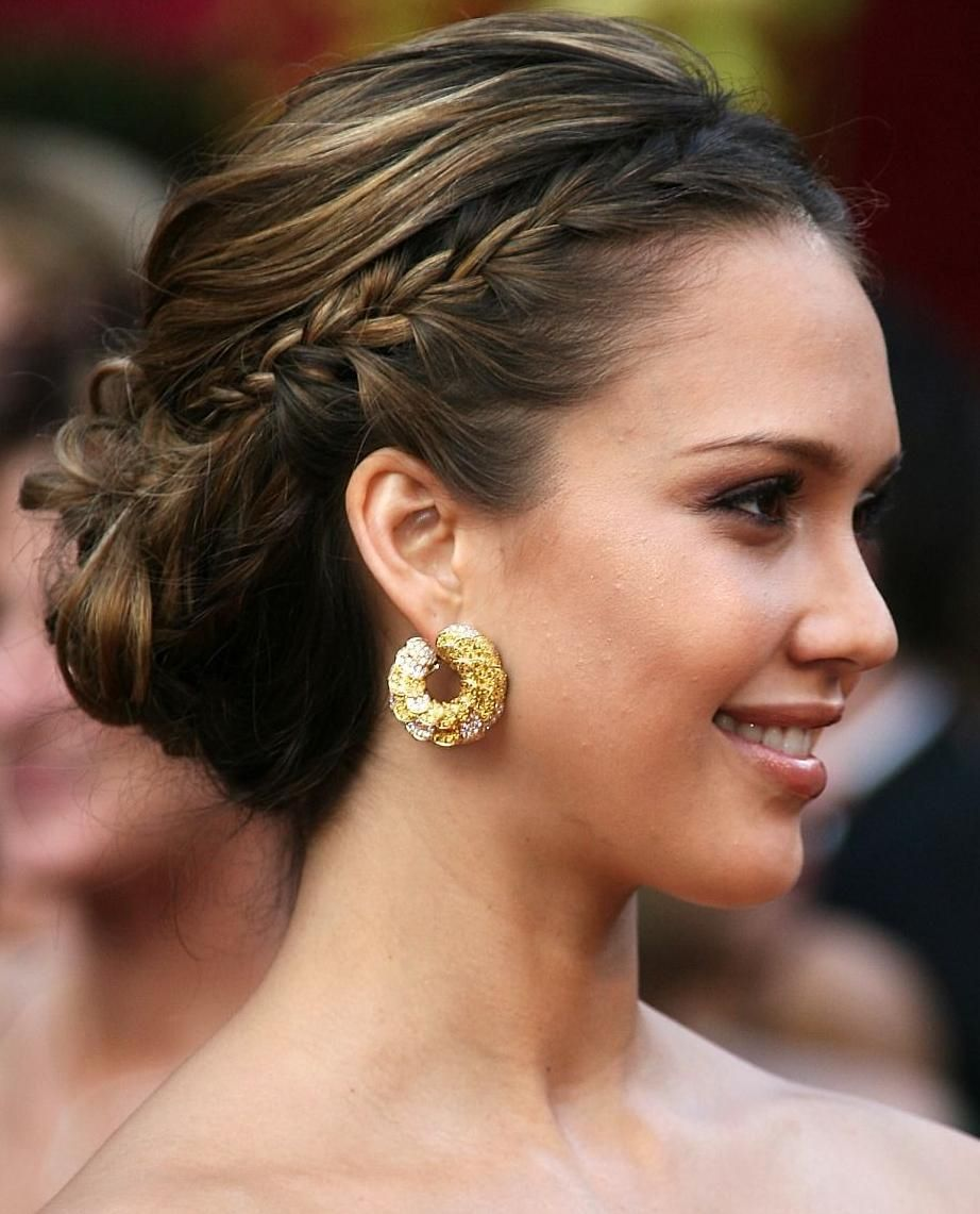 Jessica Alba Braided Updo Hairstyle With Low Bun