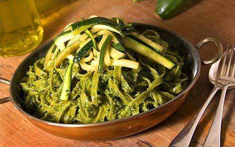 Anna Del Conte recipe: Tagliatelle verdi e zucchine al sugo di pistacchio e basilico