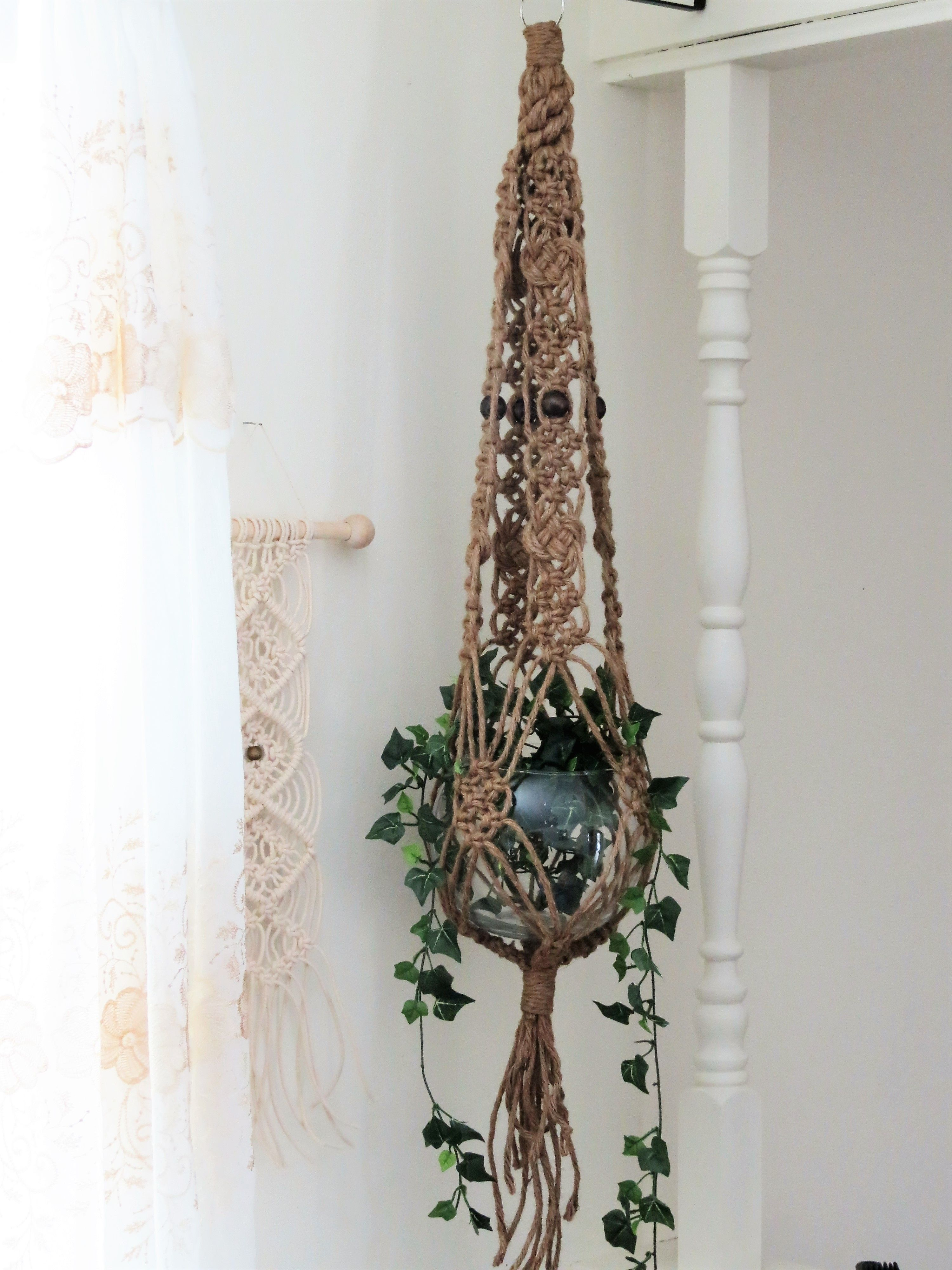 Uncategorized Macrame Patterns Plant Hanger jute macrame plant hanger hanging planter large holder thick pot vintage 70s modern hangi