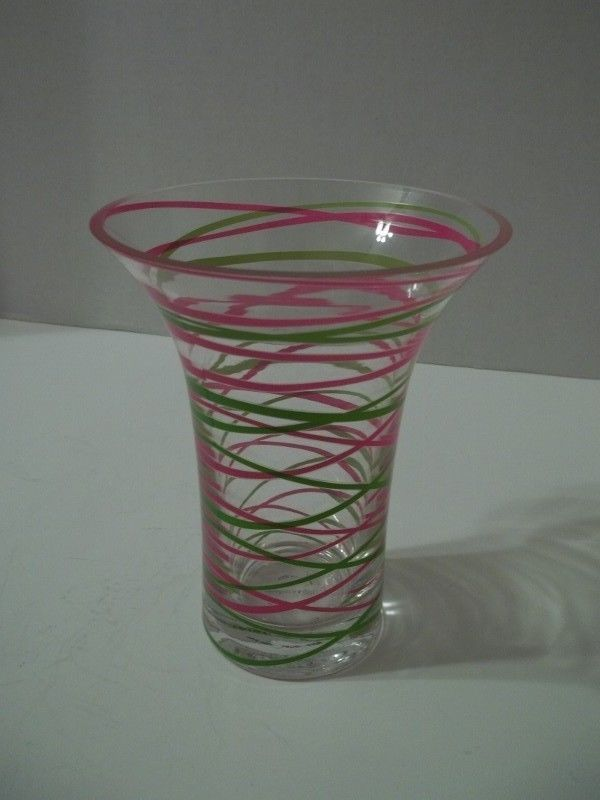 Teleflora Vase Heavy Glass Pink Green Design 6 Tall Teleflora