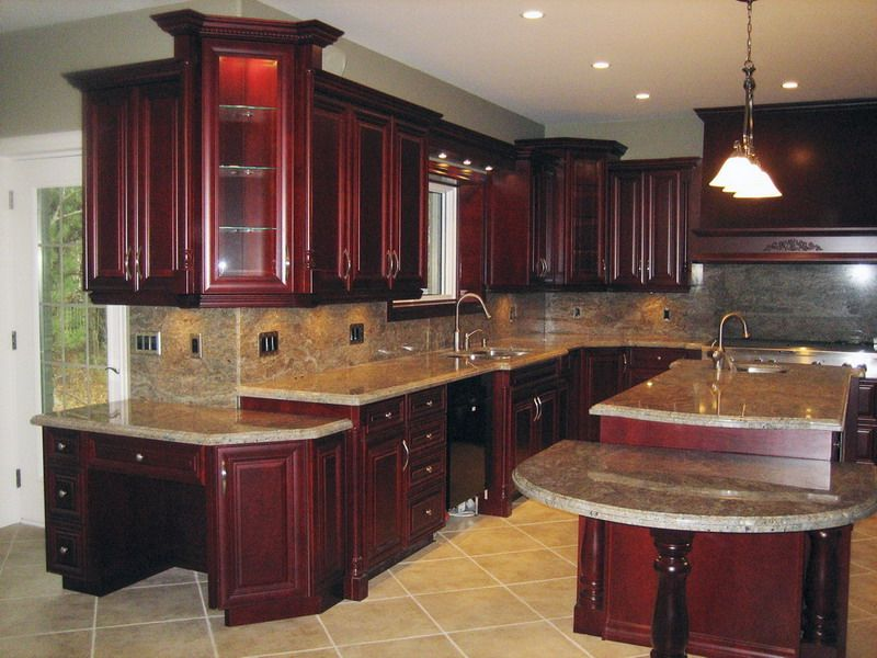 Dark Cherry Glass Door Corner Pantry Cabinet And Kitchen