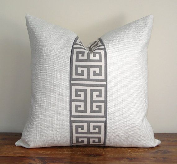 Greek Key Pillow Cover Grey Lique On By