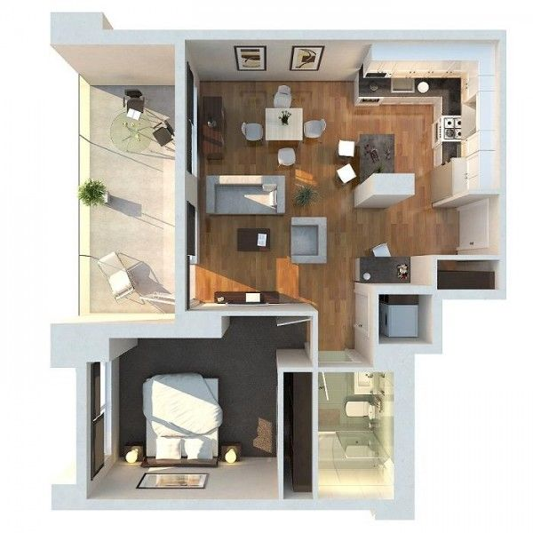 50 Plans en 3D d\u0027appartement avec 1 chambres 3d, House and Tiny houses - dessiner maison 3d gratuit