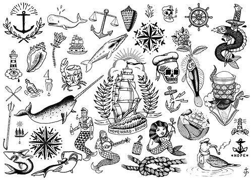 Nautical Neo Traditional Traditional Tattoo Black And White Traditional Tattoo Old School Tattoo