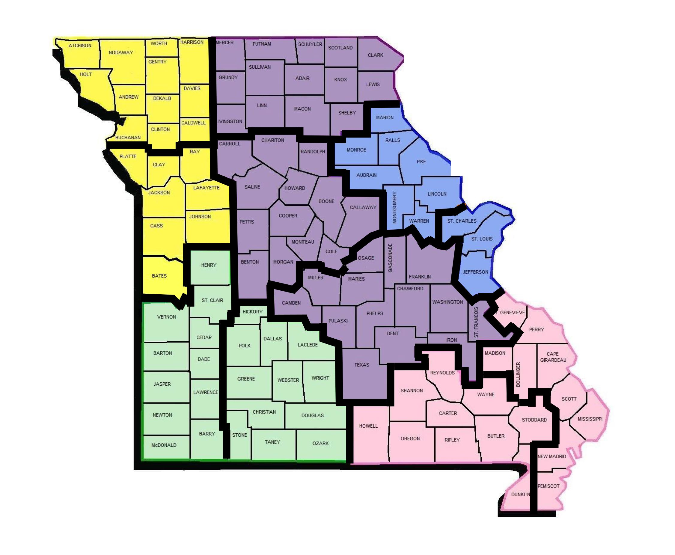 Map of regional offices and habilitation centers