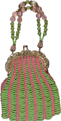 Knitted Bead Purse Lime Green and Pink #beadedpurses #vintagepurse #handmadebag