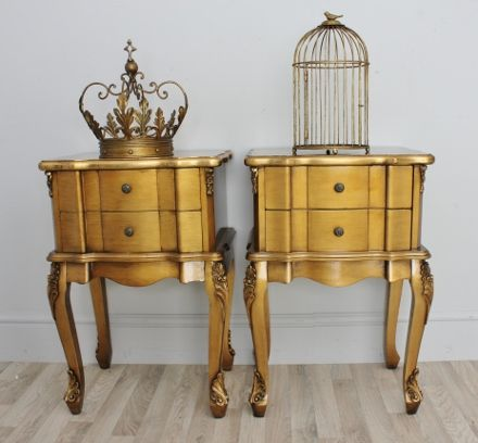 Pair Of Antique Gold Lacquered French Style Bedside Tables