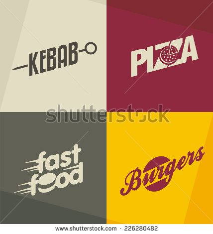 set of unique fast food logo design concepts and ideas pizza kebab burger and fast food retro design elements symbols icons and banners kebab desain set of unique fast food logo design