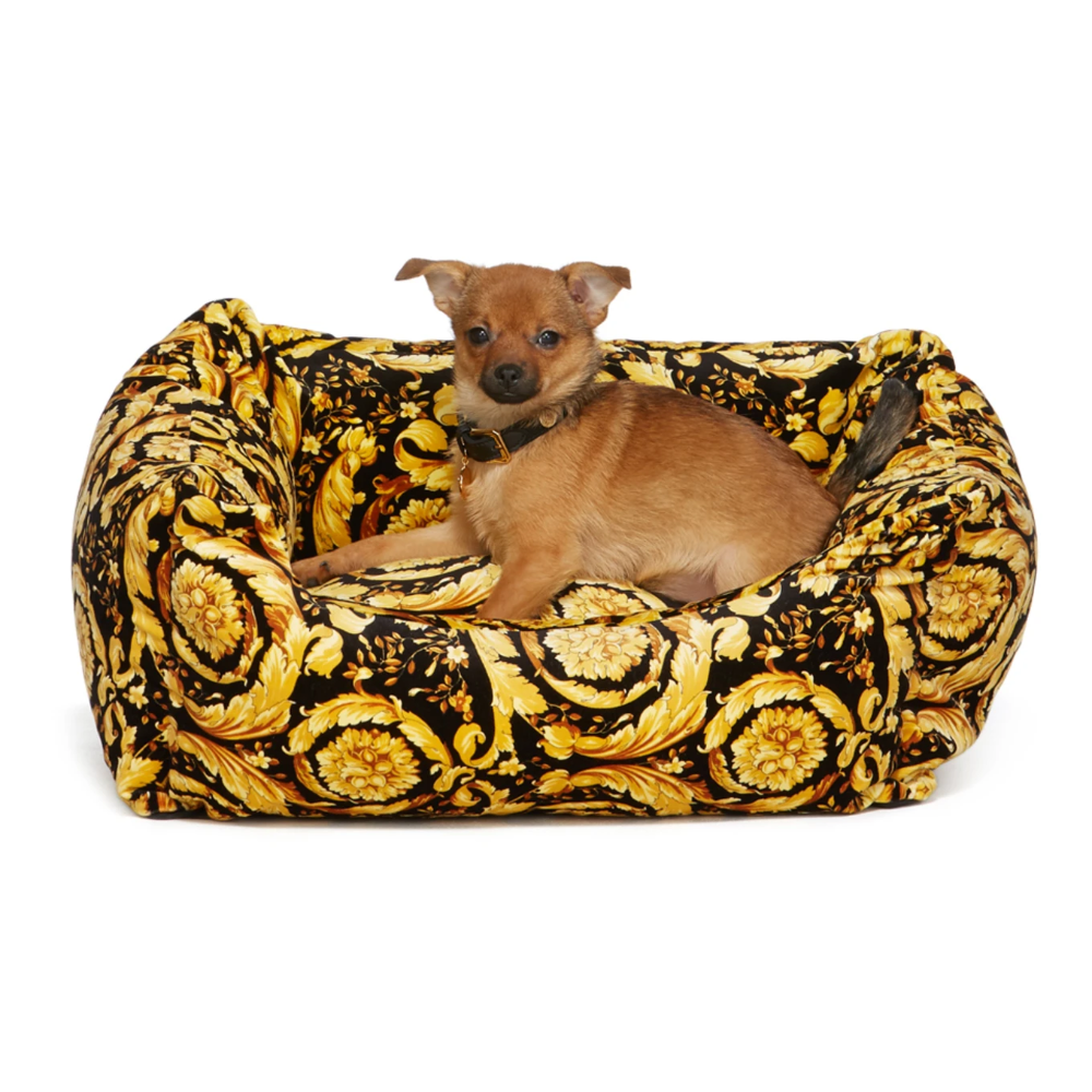 Versace Black Barocco Dog Bed Dog Bed Velvet Dog Bed Velvet Dog