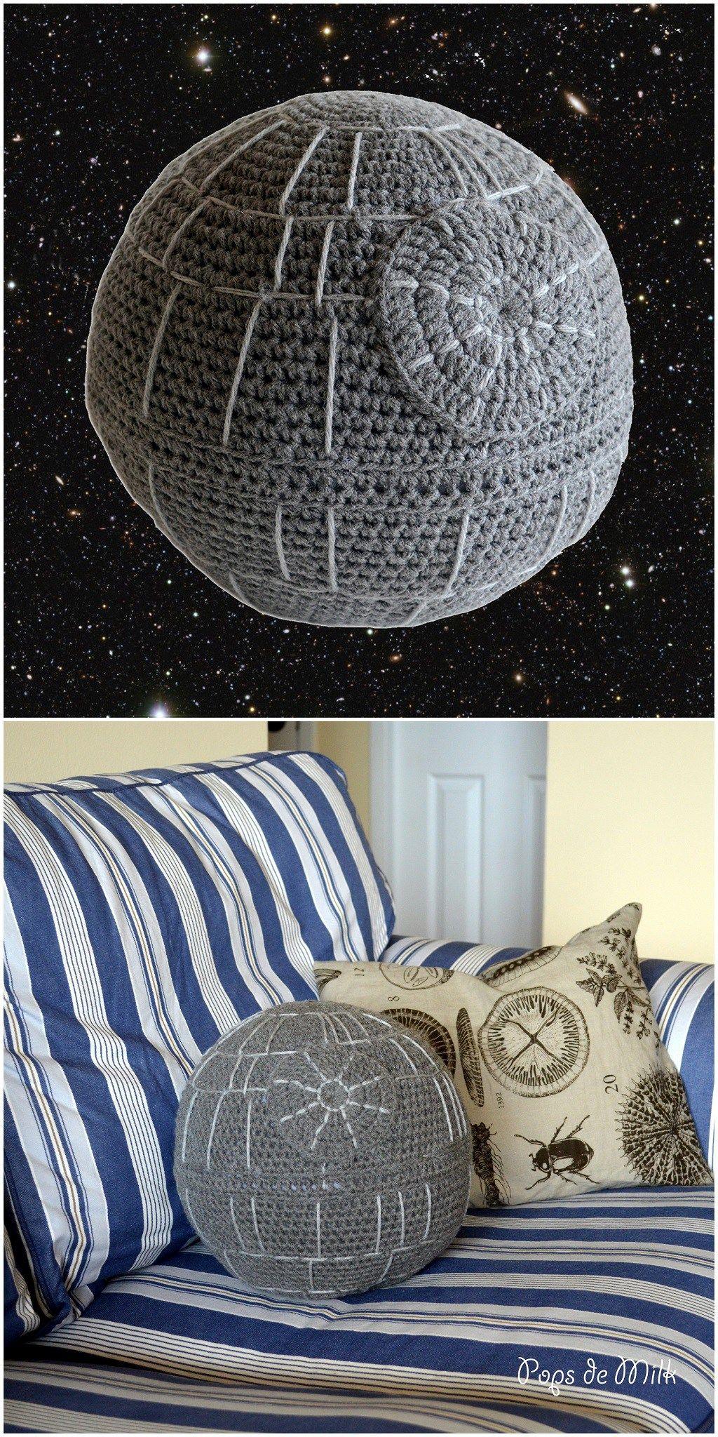"Crochet Death Star Pillow – ""That's no moon"" – Pops de Milk"