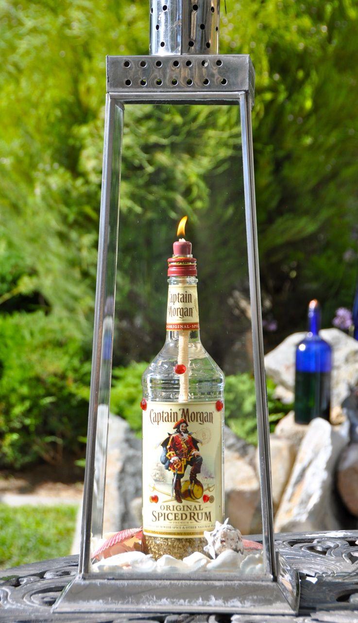 captain morgan spiced rum bottle lantern for your backyard