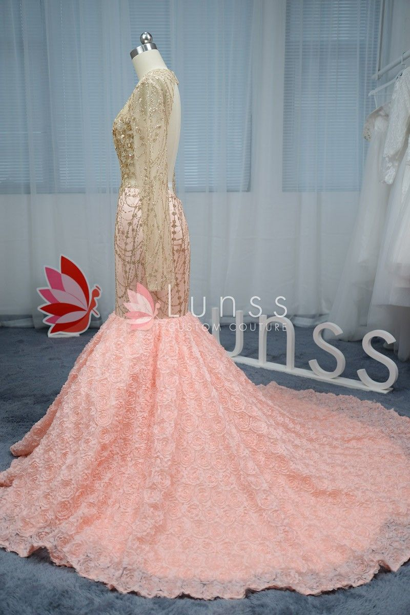 dazzling gold sequin mermaid 3D pink rosette prom dress 2 | Lunss ...