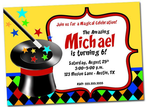 Magic Birthday Party Invitation Magician Party Printable File – Magic Party Invitations