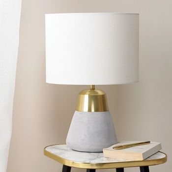 Concrete And Gold Table Lamp   Gold table lamp, Table lamp
