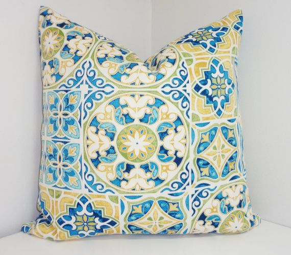 OUTDOOR Deck Patio Pillow Cover Mosaic Print Blue By HomeLiving, $18.00