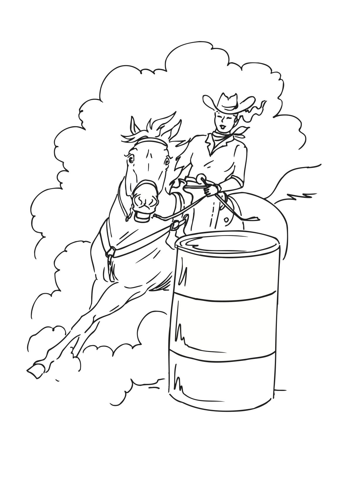 Co co coloring pages of a cowgirl - Coloring Pages Barrel Racing Is A Rodeo Event In Which A Horse And Rider Attempt To Complete A