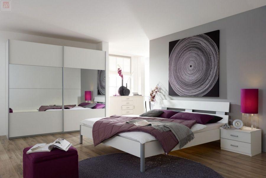 Schlafzimmer Mit Bett 180 X 200 Cm Alpinweiss Woody 33-00033 Holz - komplette schlafzimmer modern