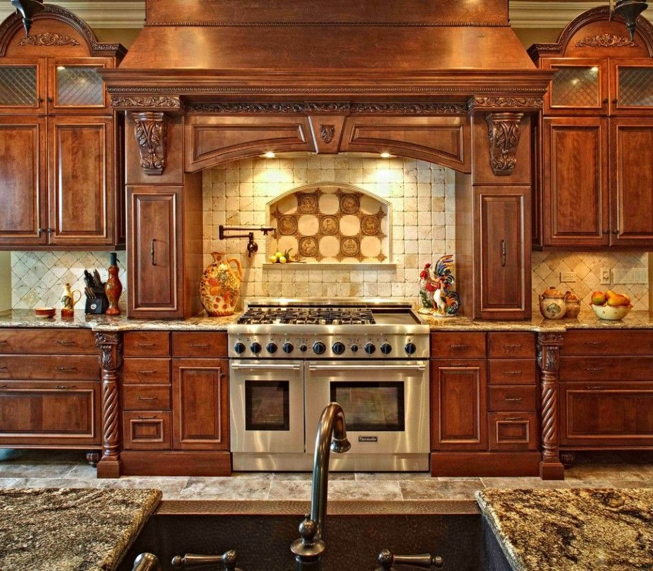 Kitchen. Spectacular Luxury Custom Backsplash Chimney Hood