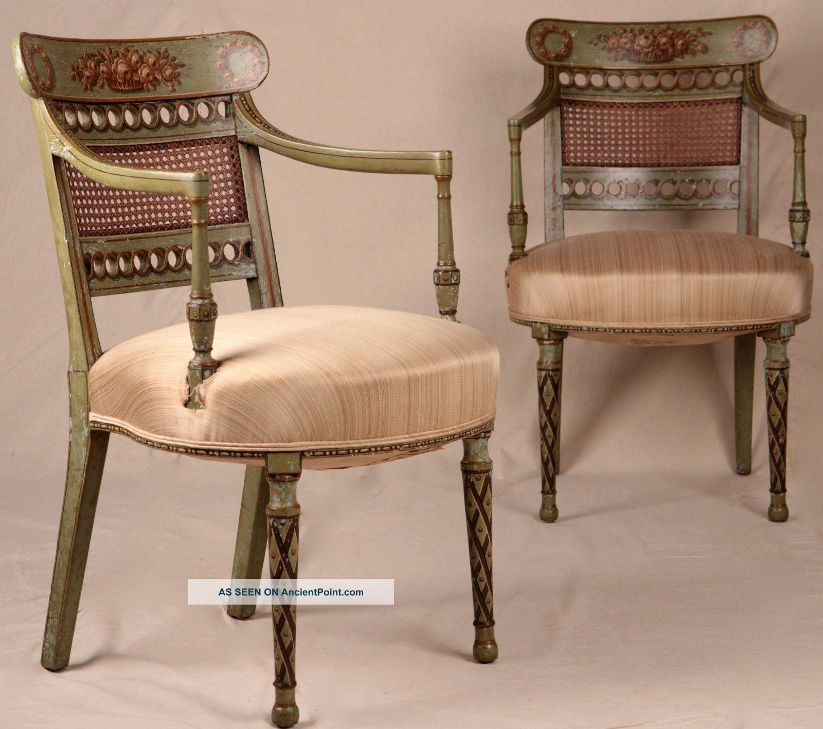Pair Of Adams Style Painted Regency Neoclassical Antique 19th Century Arm  Chairs 1800 1899 Photo