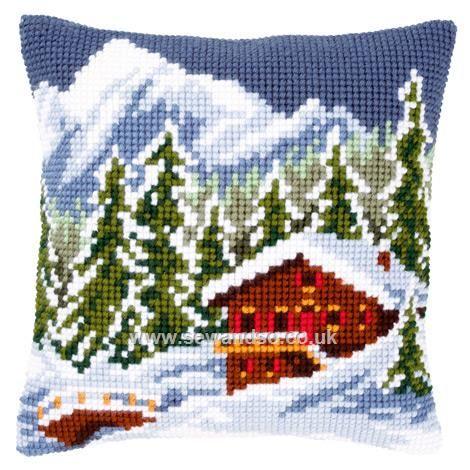Buy Snow Landscape Cushion Front Chunky Cross Stitch Kit Online at www.sewandso.co.uk