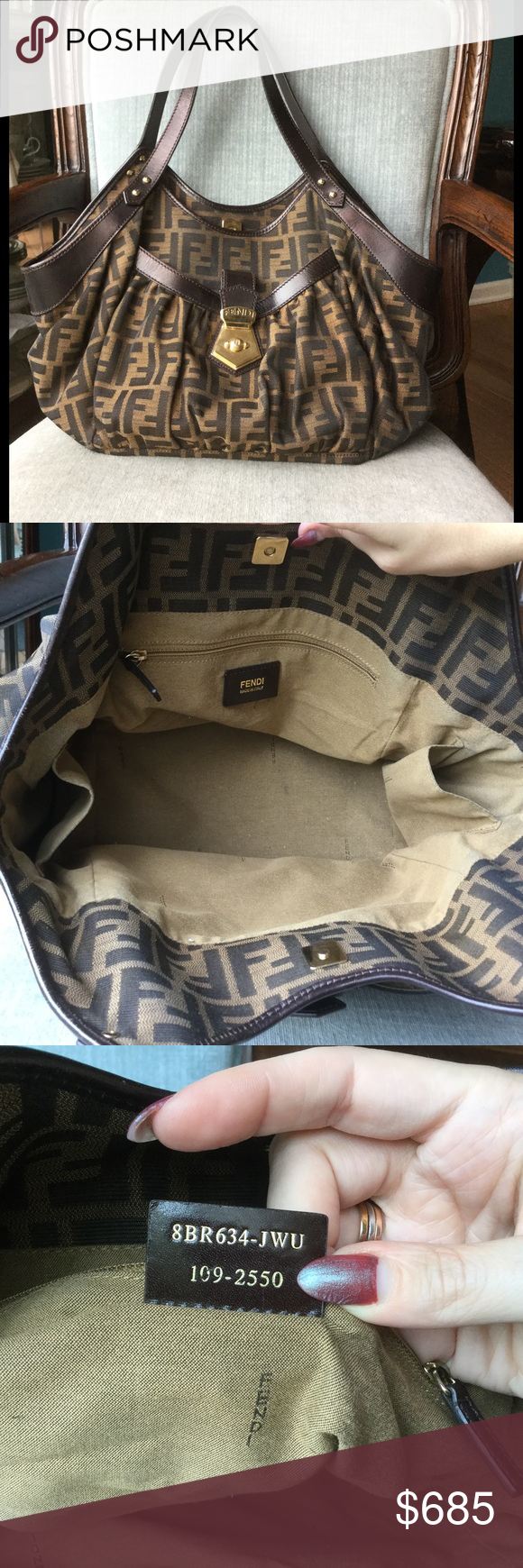 b9a01d668fb6 Fendi Tobacco Zucca Canvas Borsa Chef Tote large Like new condition.  Beautiful canvas and leather