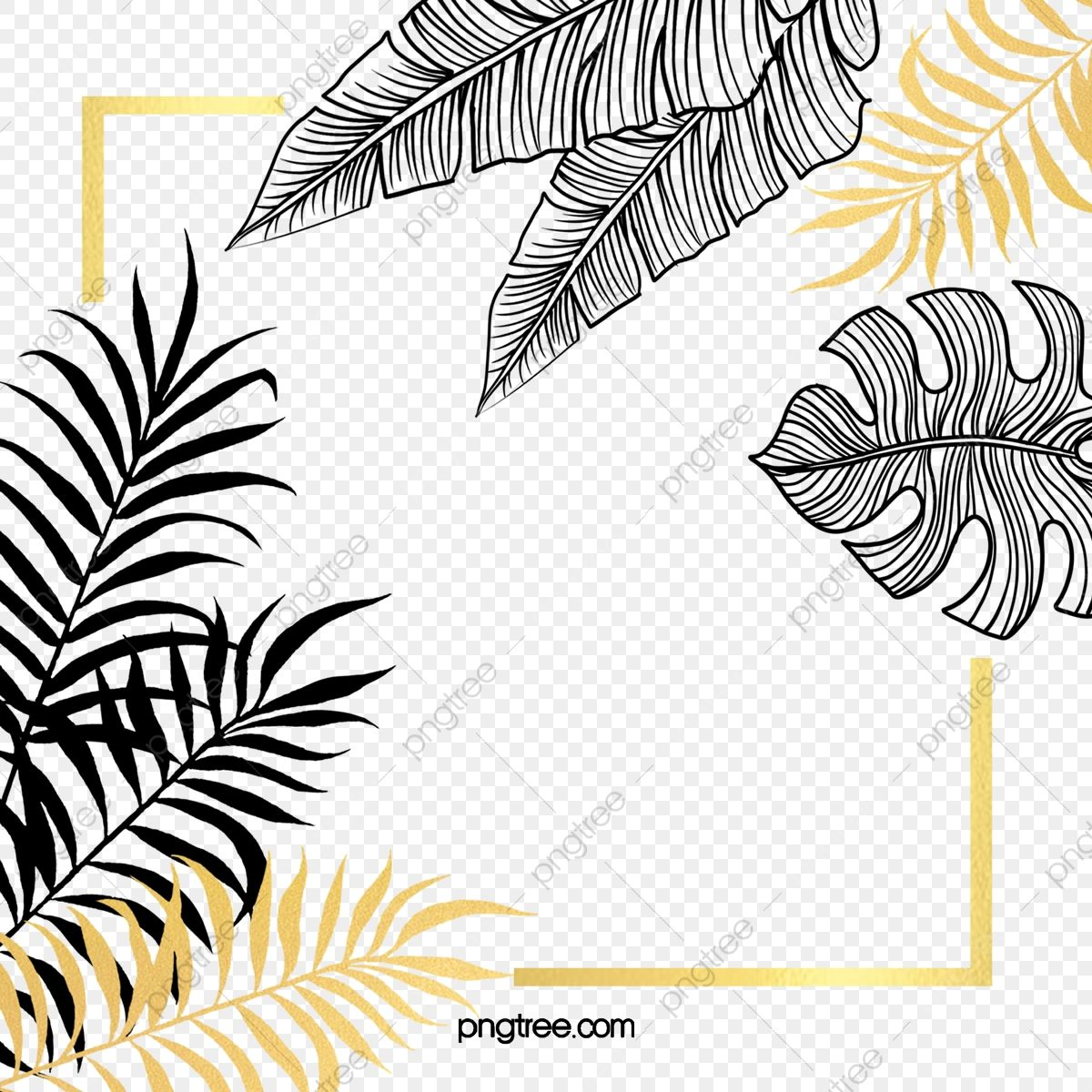 Black Gold Plant Leaves Hand Painted Border Gold Leaf Black Hand Painted Leaf Png Transparent Clipart Image And Psd File For Free Download Plant Leaves Leaf Background Graphic Resources