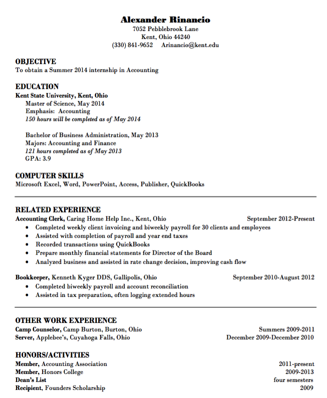Example Resume Accounting Free Resume Sample College Application Resume Student Resume College Resume Template