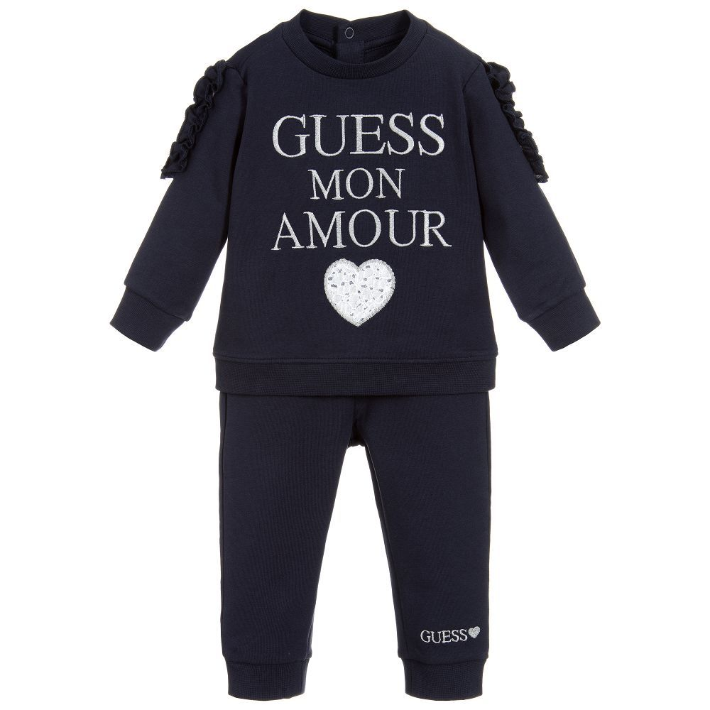 178295f3 Navy blue tracksuit for baby girls by Guess, made in soft cotton ...