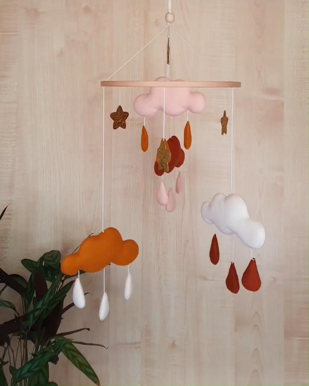 Clouds mobile nursery, neutral gender nursery mobile, gold baby mobile, star mobile, clouds hanging decor